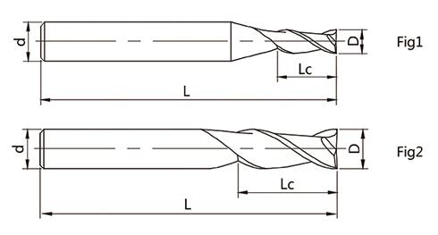 2刃平头立铣刀矢量图